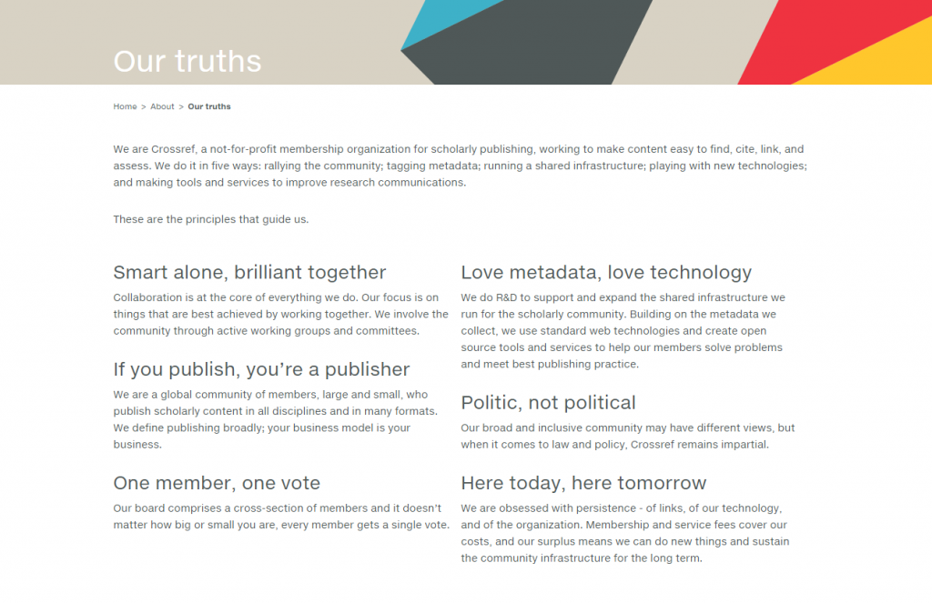 Crossref's Truths, taken from our forthcoming new website.